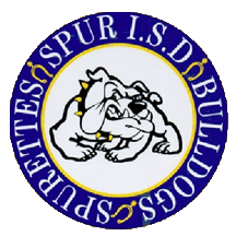 Emblem of the school, a gray bulldog and a blue circle around it with the name of the school district.