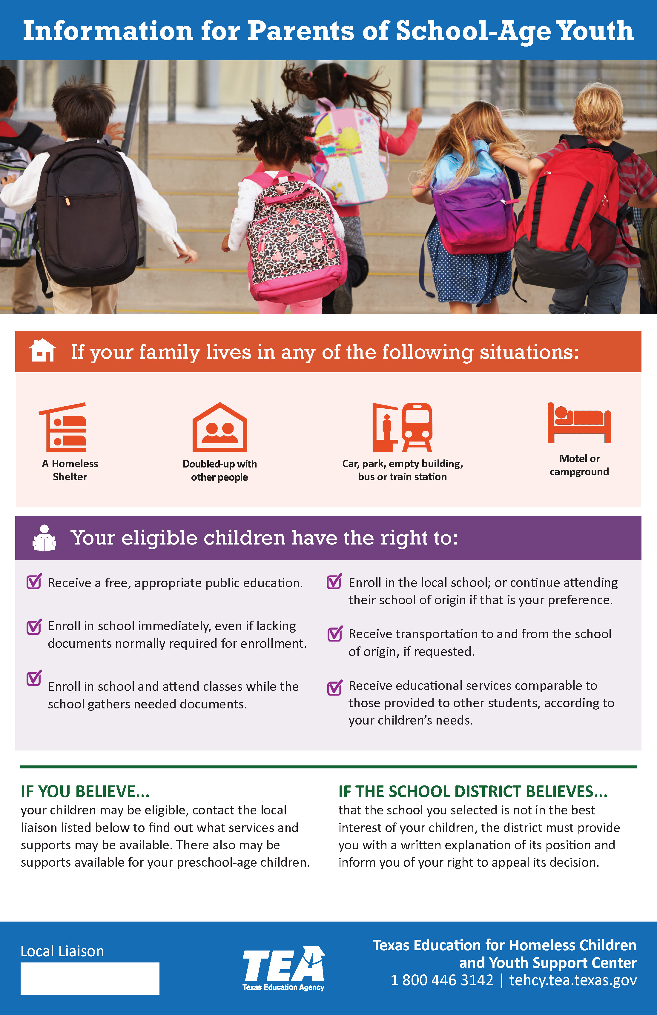 INFORMATION FOR PARENTS OF SCHOOL-AGE YOUTH
