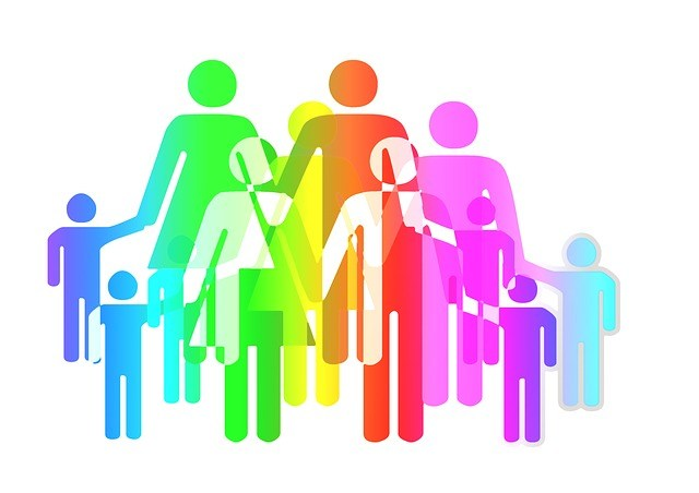 An image of a family with many colors.