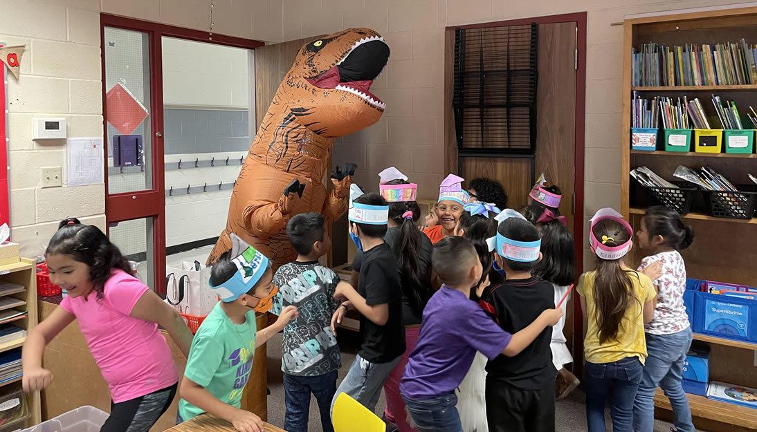 Dinosaur costume in the classroom