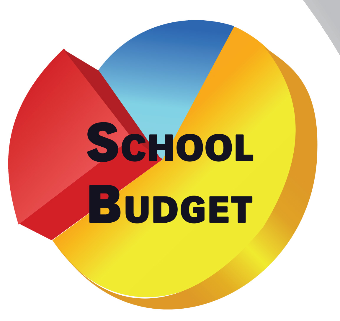 A pie chart graphic that says School Budget