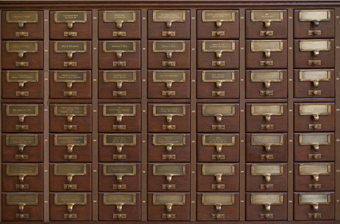 A photo of a card catalog cabinet