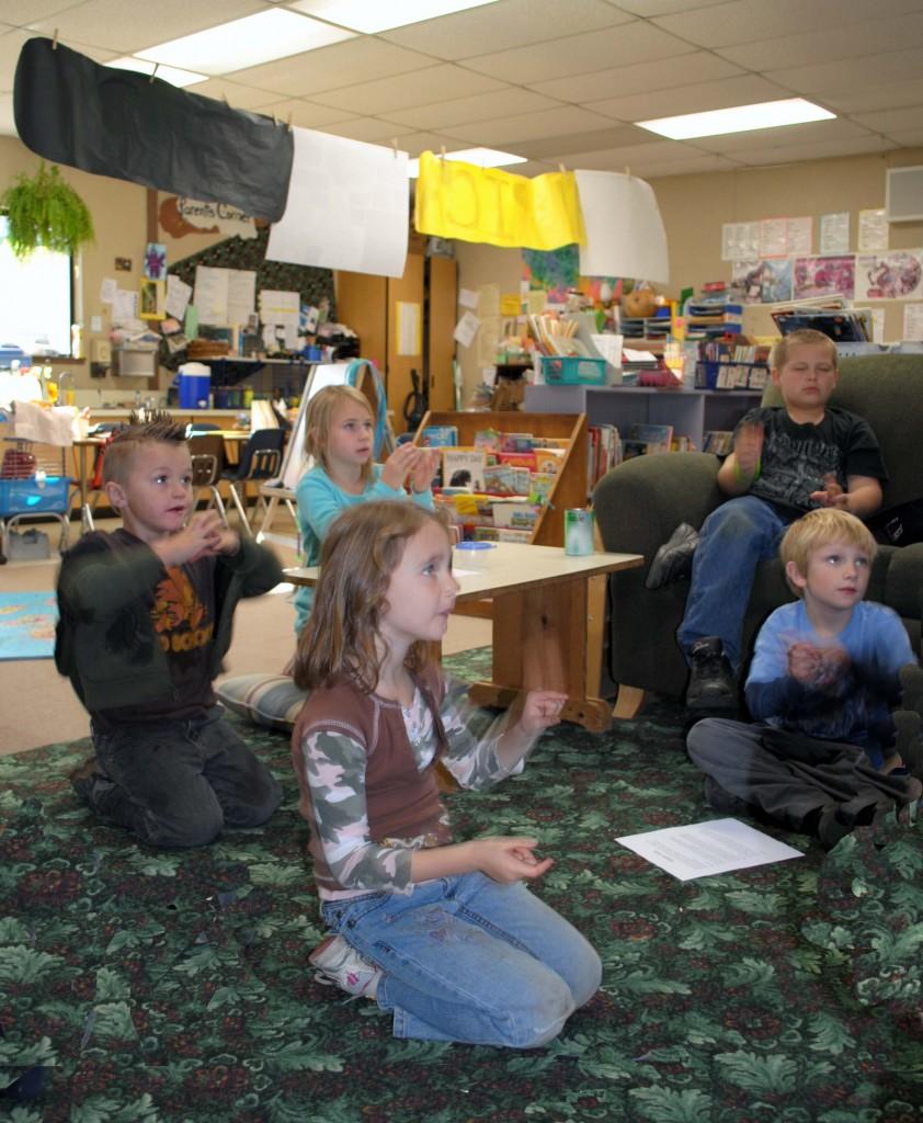 kids listening in a classroom