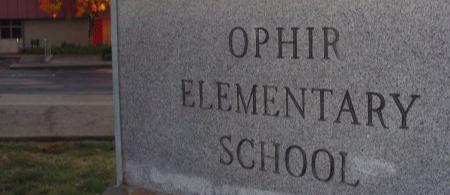 Ophir School sign.