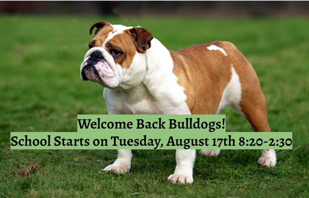 School Starts on Tuesday, August 17
