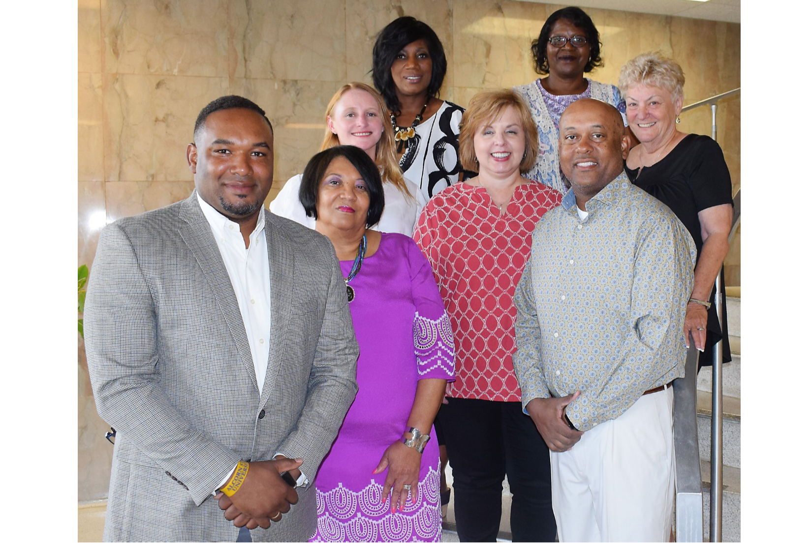 Members of the Blytheville School District's Board of Education are (front, from left) Desmond Hammett, Barbara Wells, Erin Carrington, Tracey Ritchey, Billy Fair, (in back, from left) Michelle Sims, Henrietta Watt and Tobey Johnson. Carrington was elected president of the board, Wells is vice president and Sims secretary.