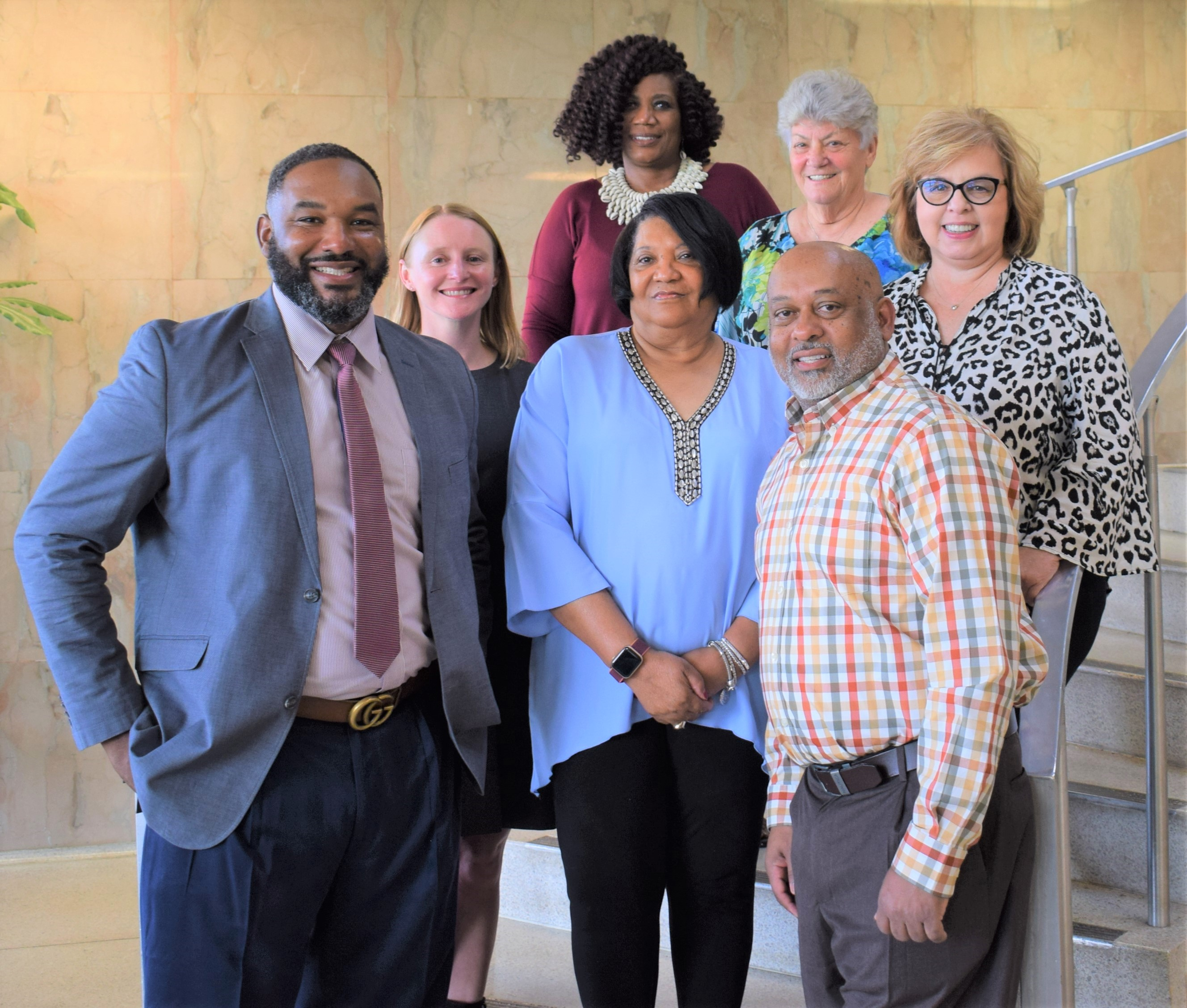 Members of the Blytheville School District's Board of Education are (front, from left) Desmond Hammett, Barbara Wells, Billy Fair (in back, from left) Erin Carrington, Michelle Sims, Tobey Johnson, and Tracey Ritchey.