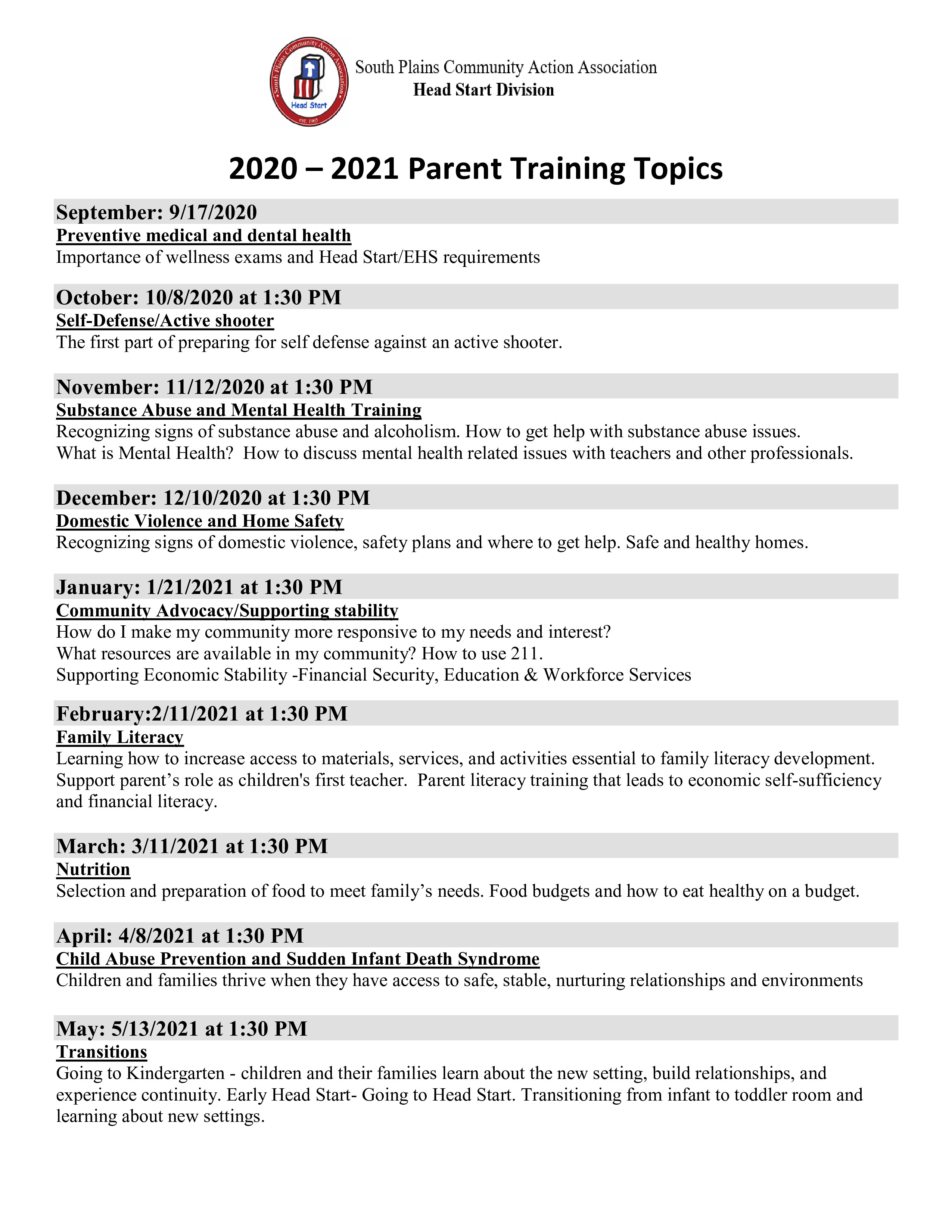 Parent Meetings 2020-21