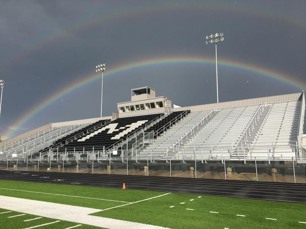 Muleshoe football field with rainbow