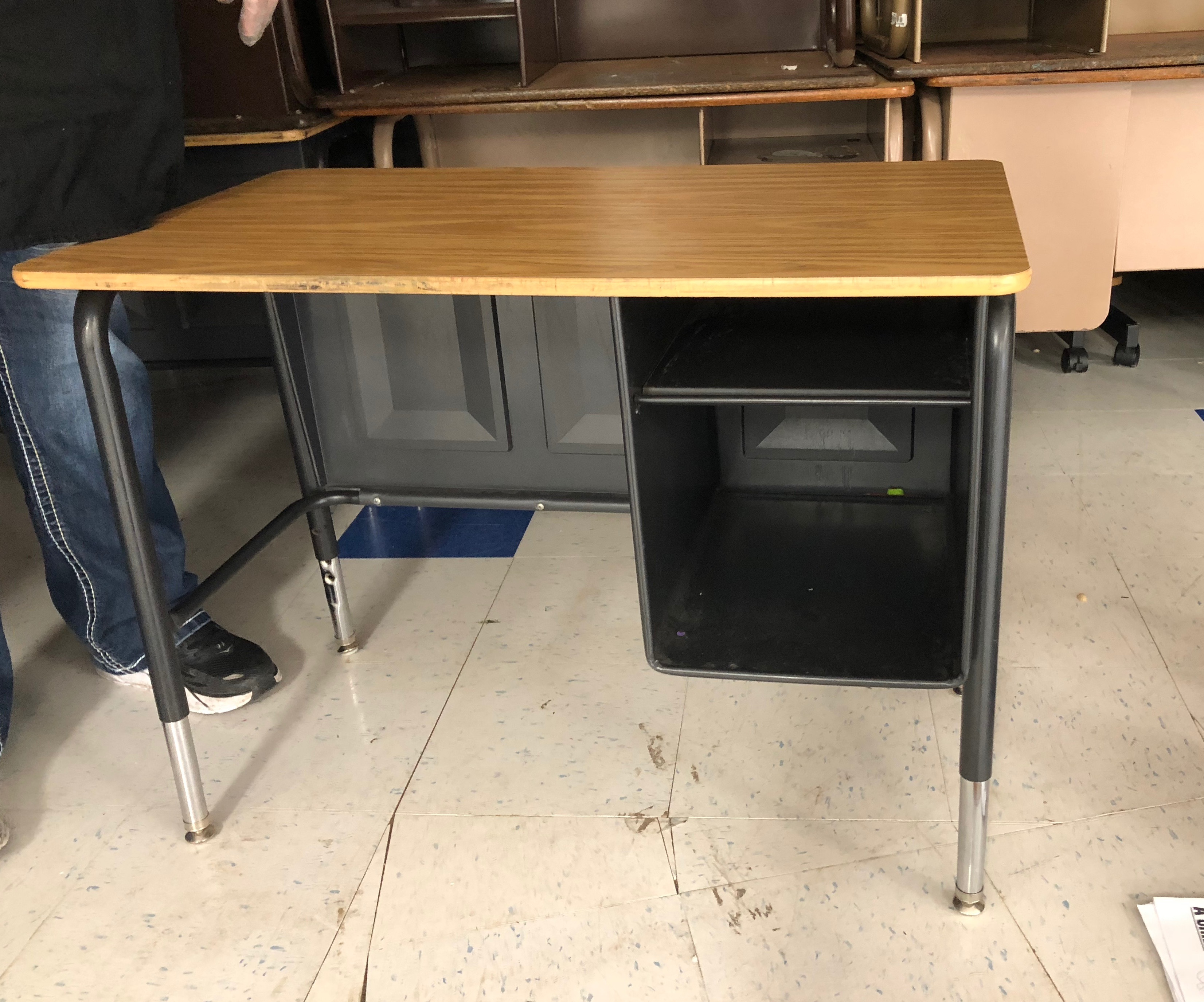 A photo of a wooden desk.