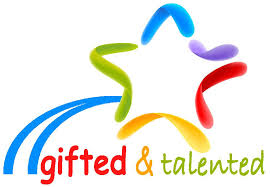"""A multicolored star along over the words """"Gifted & Talented"""""""