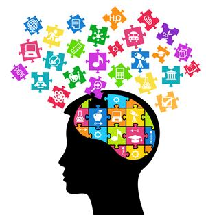 A persons head with the brain forming a puzzle, the piece all aligning together in different colors.