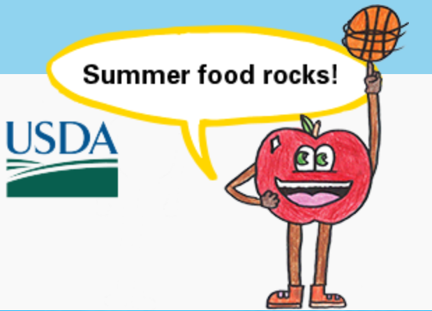 """A red apple with a big smile playing with a basketball and saying """"Summer food rocks!"""""""