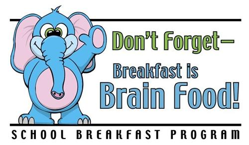 """A blue elephant waving along with the phrase of """"Don't forget, Breakfast is brain food!"""""""