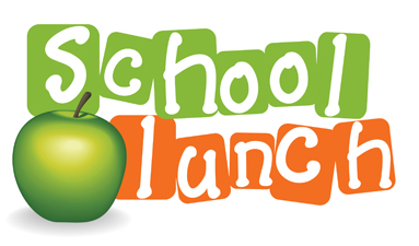 """A green apple placed next to the words """"School Lunch"""""""