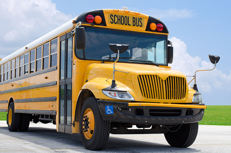 Photo of a yellow school bus.