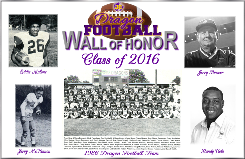 Class of 2016 Honorees Eddie Malone, Jerry McKinnon, 1986 Dragon Football team, Jerry Brewer, Randy Cole