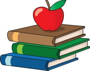 3 books stacked on top of each other with an apple on top
