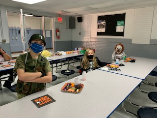 Halloween fun (masks are not worn when students are eating)