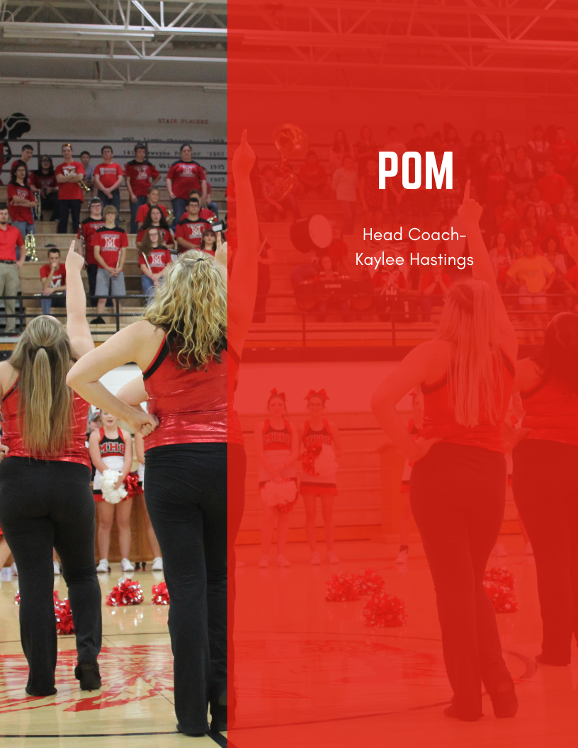 """pom dancers with text that says """"pom, head coach kaylee hastings"""""""