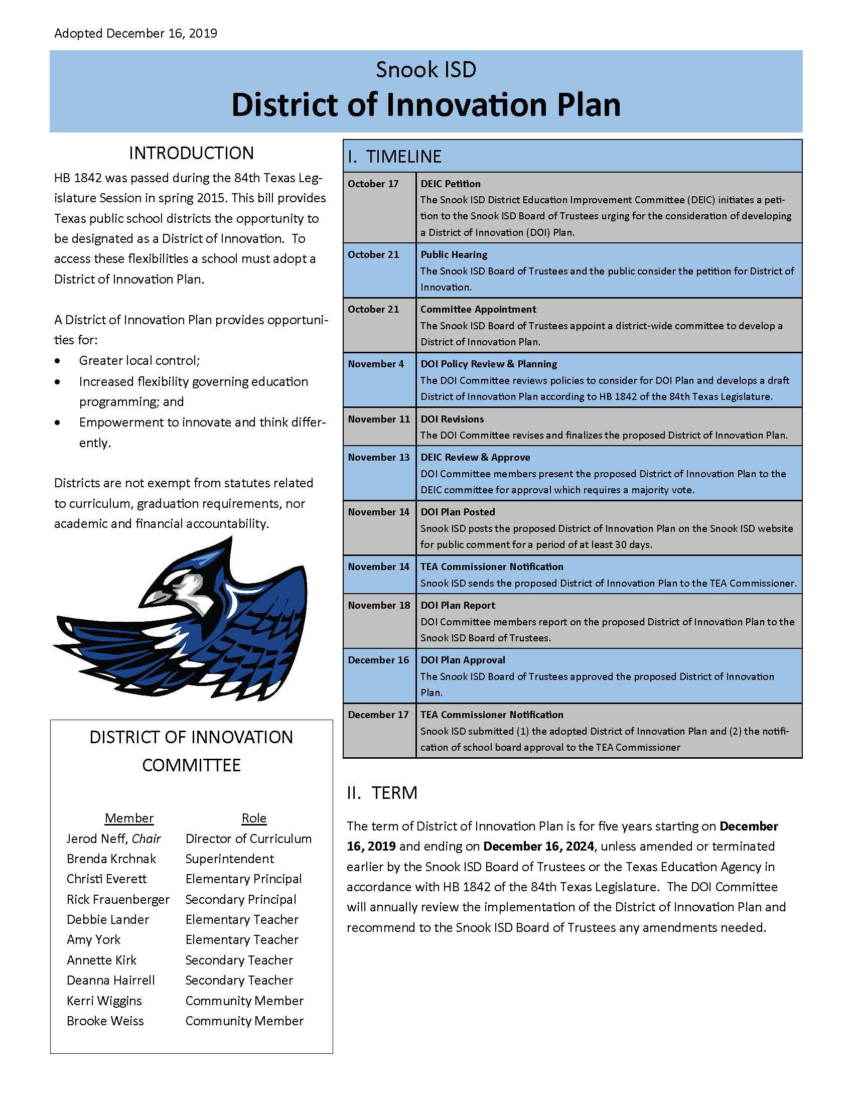 Snook ISD District Innovation Plan document 1