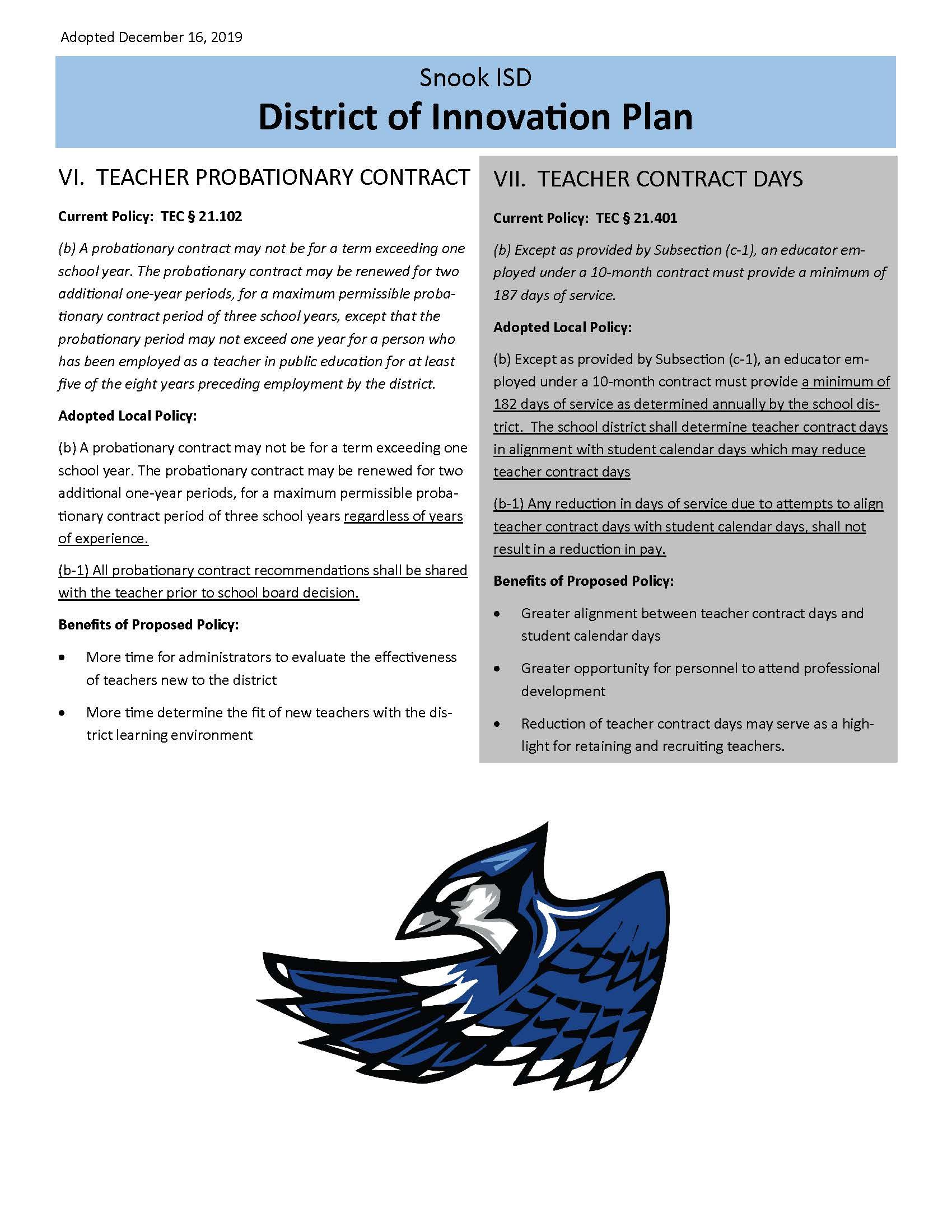 Snook ISD District Innovation Plan document 3
