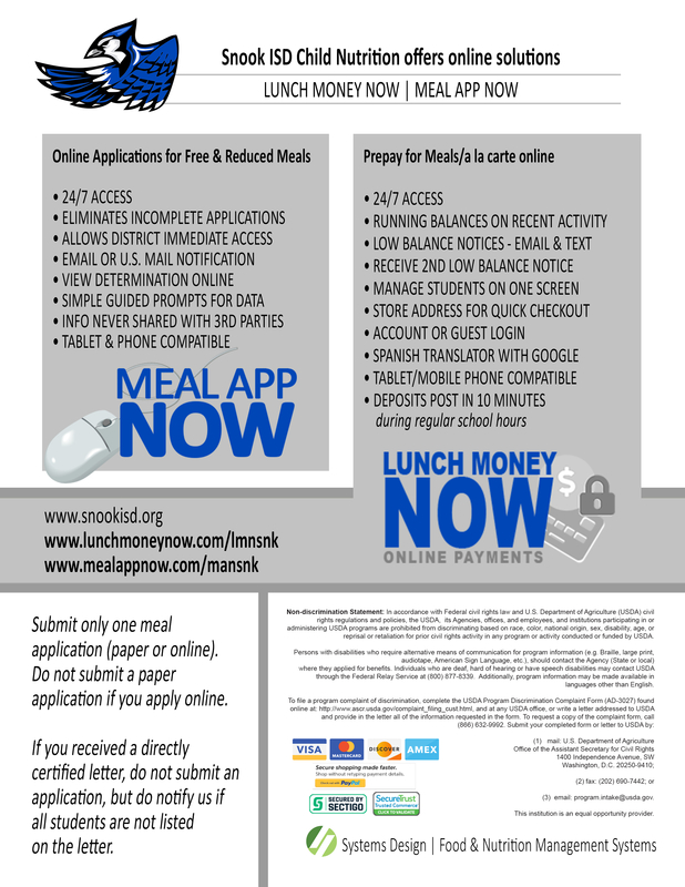 Snook ISD Child Nutrition offers online solutions, Lunch Money Now and Meal App Now