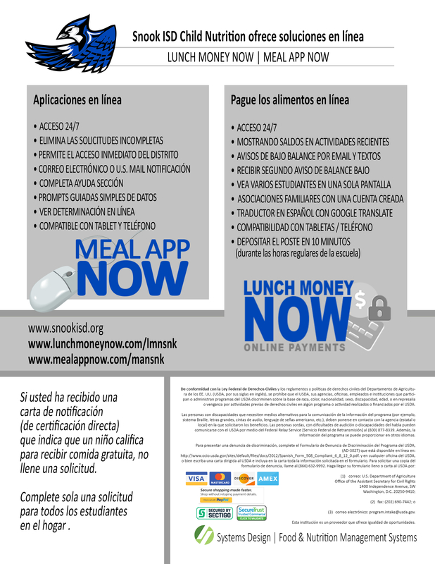 Snook ISD Child Nutrition offers online solutions, Lunch Money Now and Meal App Now details in Spanish