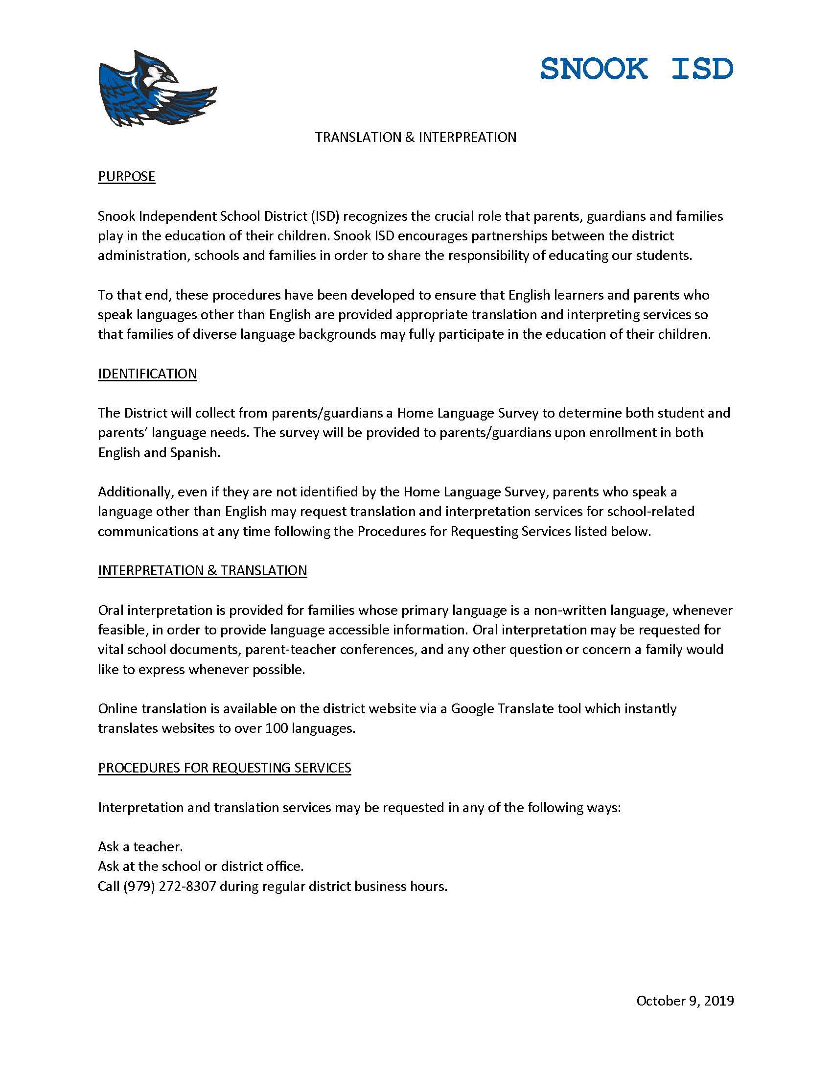 Snook ISD Translation & Interpretation