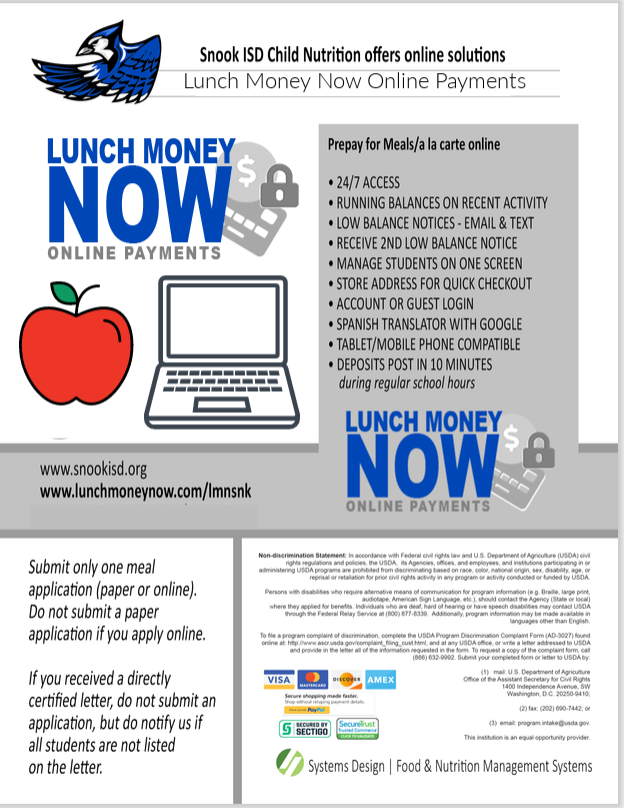 Snook ISD Child Nutrition offers online solutions, Lunch Money Now
