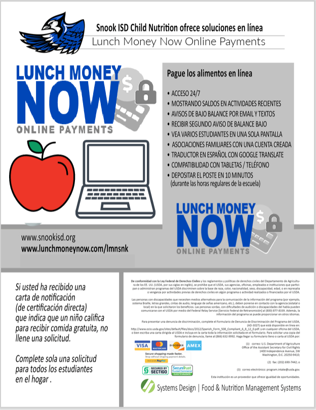Snook ISD Child Nutrition offers online solutions, Lunch Money Now  details in Spanish