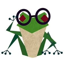 Conjuguemos logo, cartoon frog with glasses on