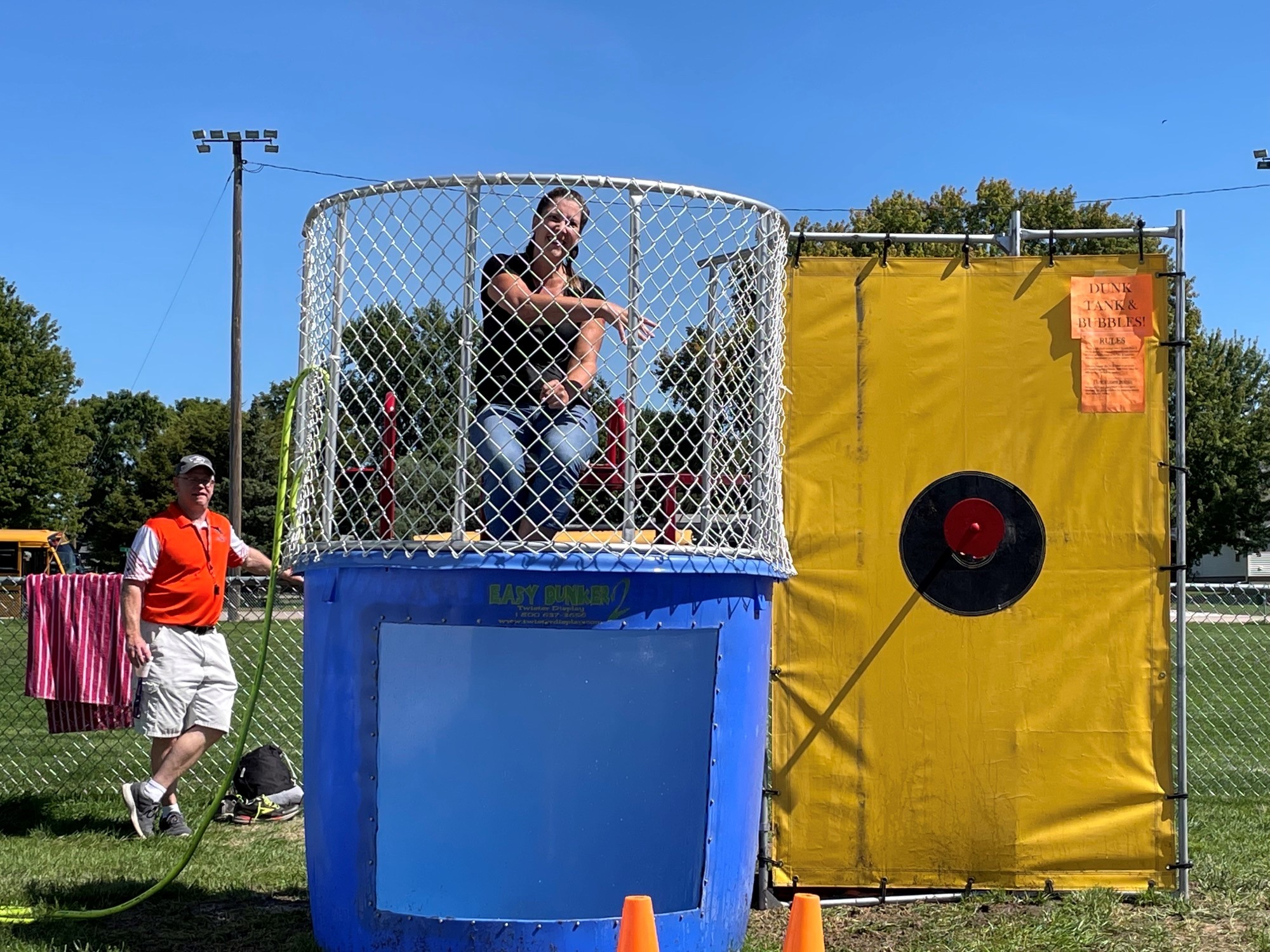 Students dunk Mrs. Jesse during S.A.D. day.