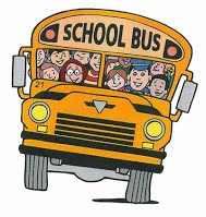 A clipart image of a school bus with students in it