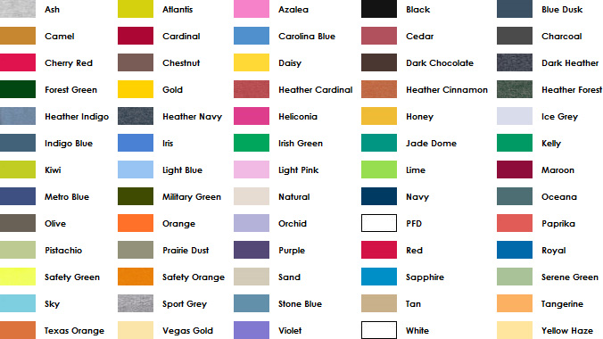 A list of shirt colors with swatches