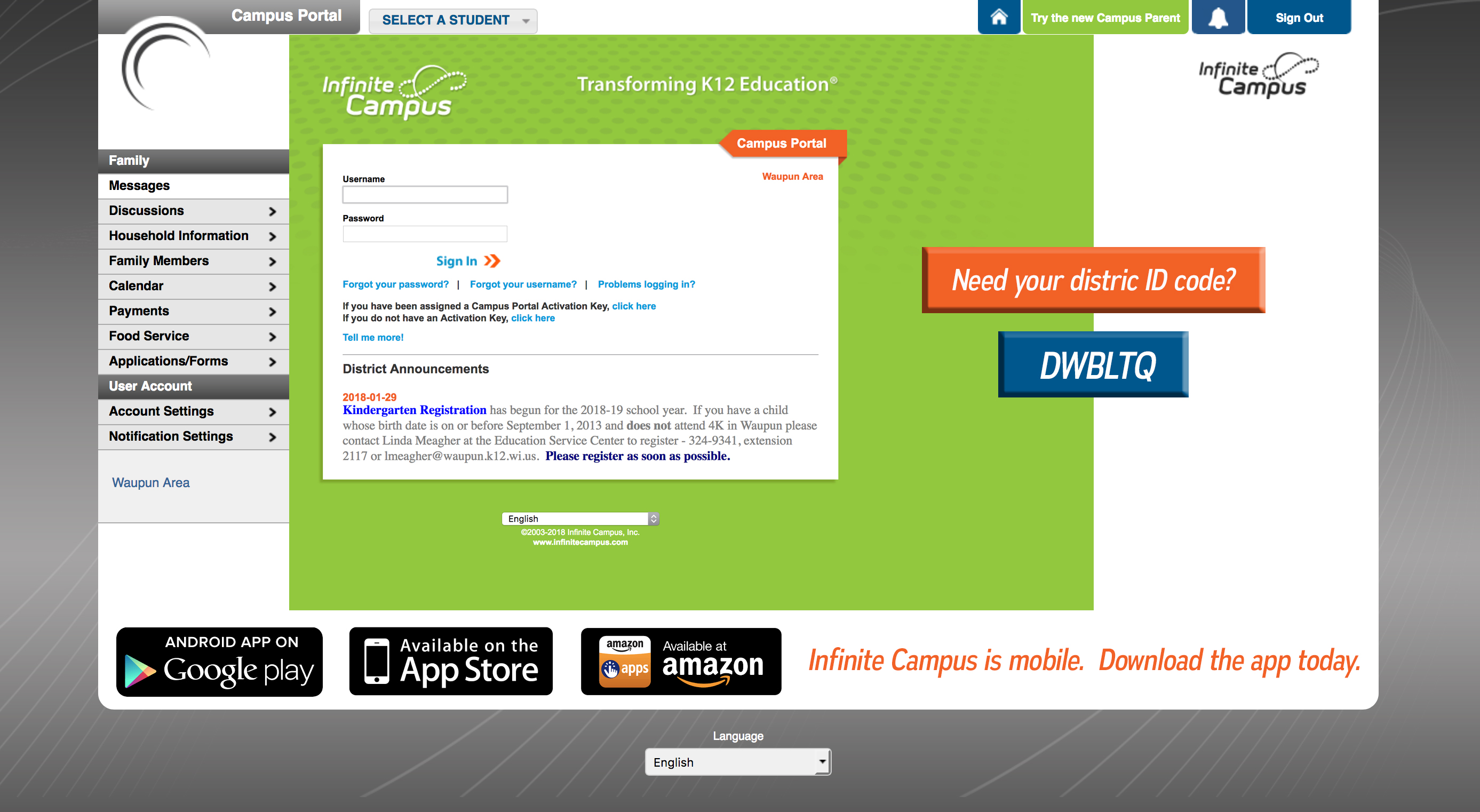 INFINITE CAMPUS SITE