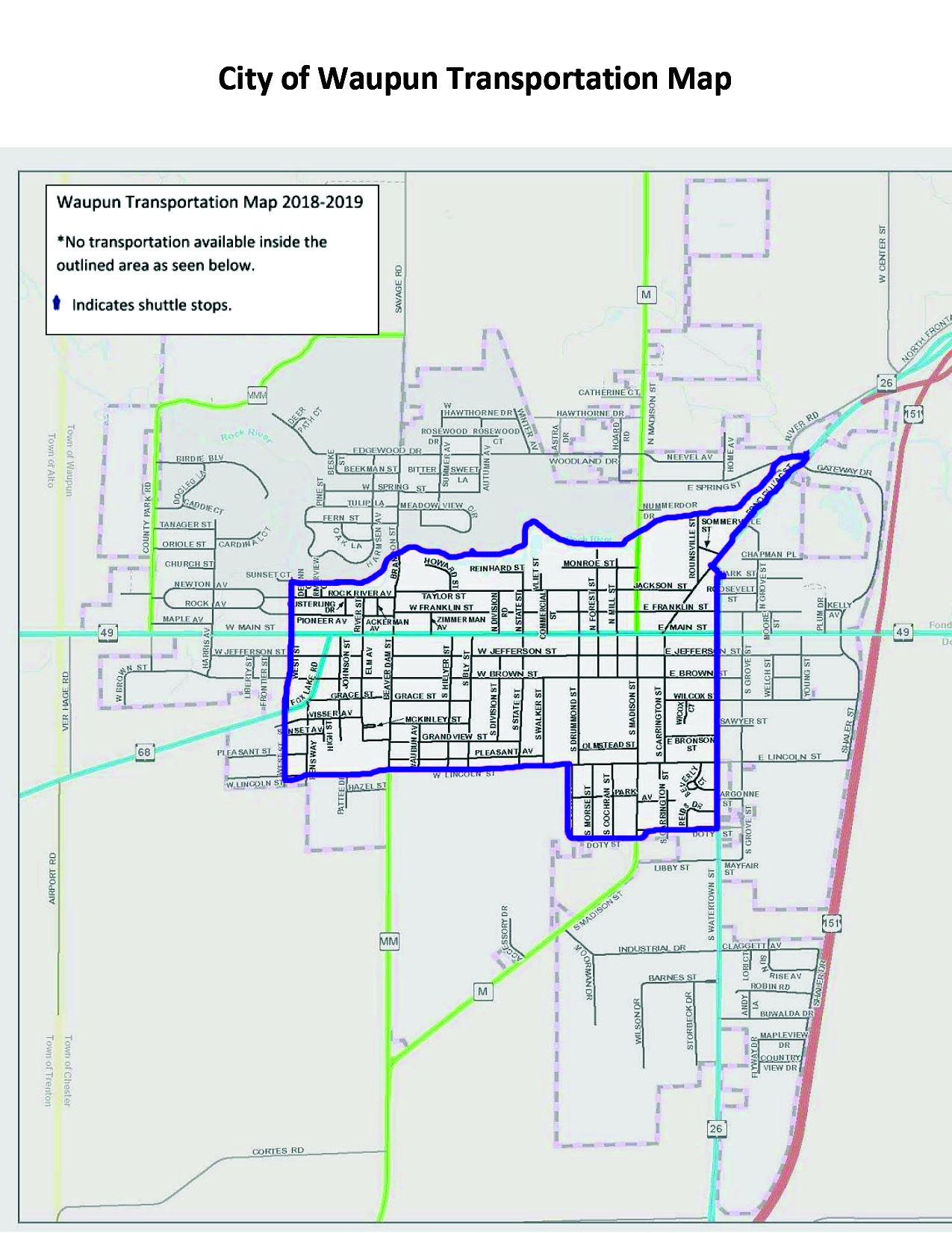 City of Waupun Transportation Map