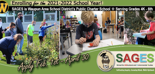Enrolling now for the 2021-2022 school year! (photo collage with 2nd & 5th graders checking out rain garden, 3rd grader observing tomato, and kindergartner sitting on a log in the school forest writing in journal.)