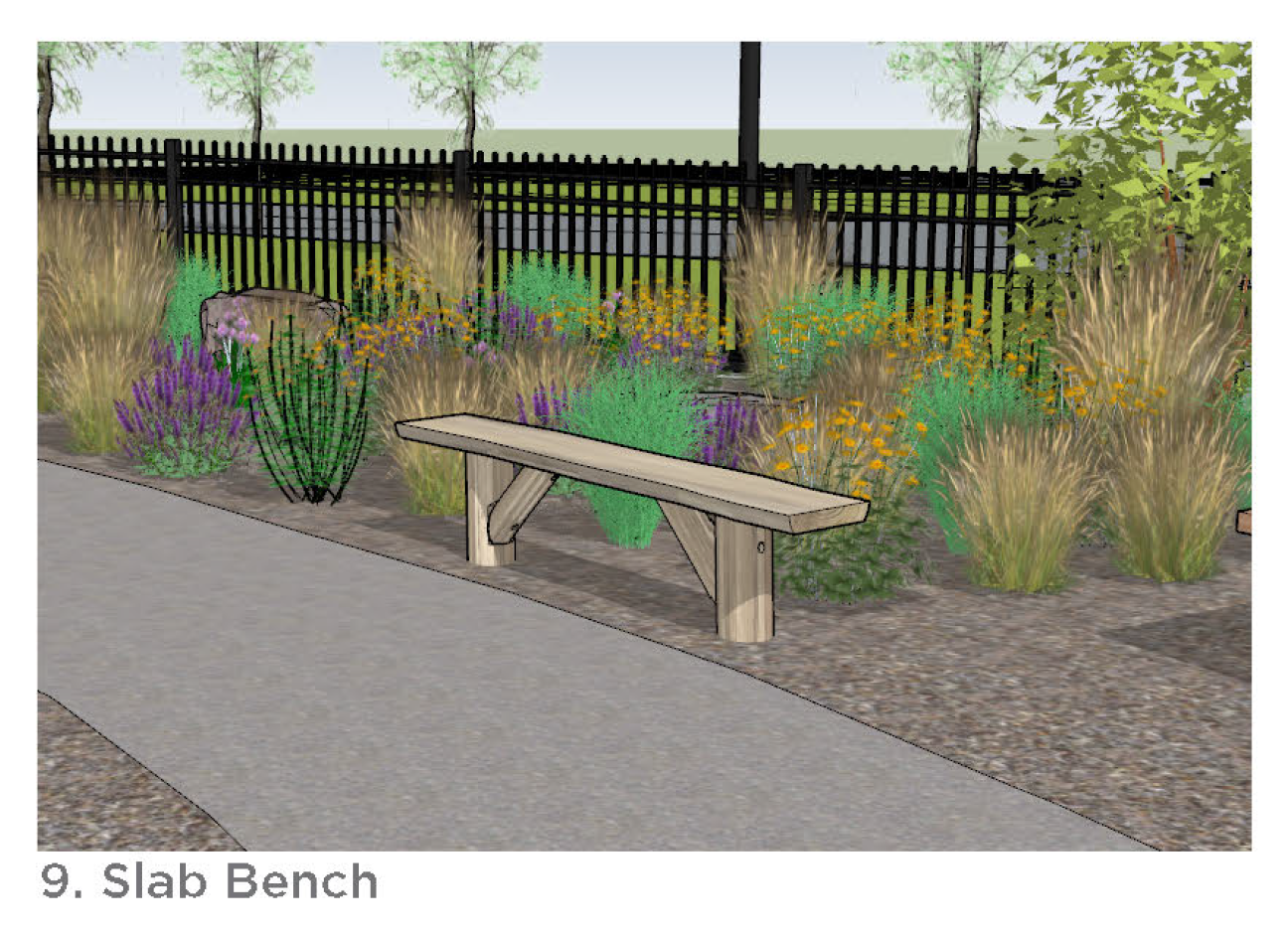 Photo of the slab bench.