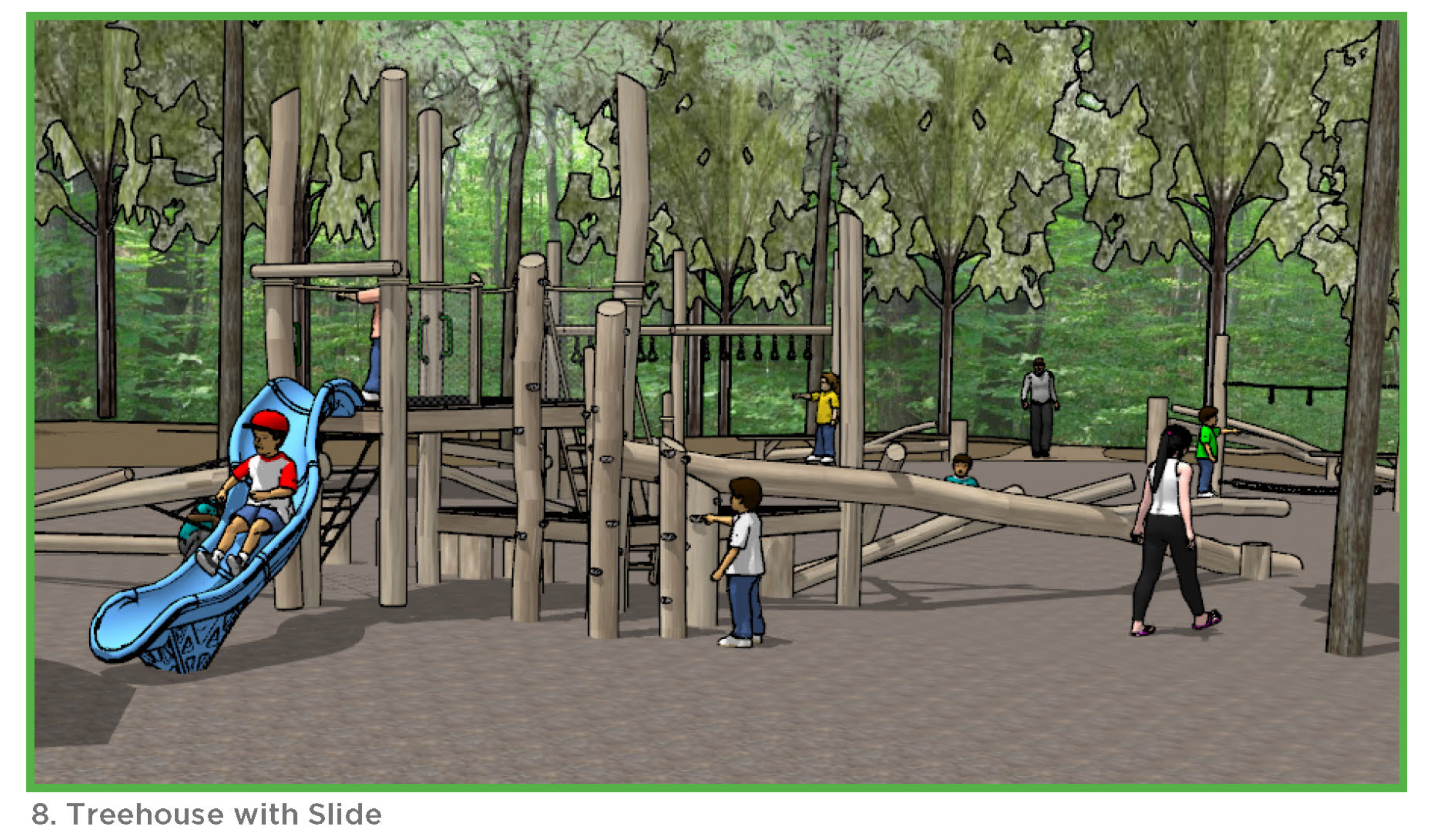 Photo of the treehouse with slide.