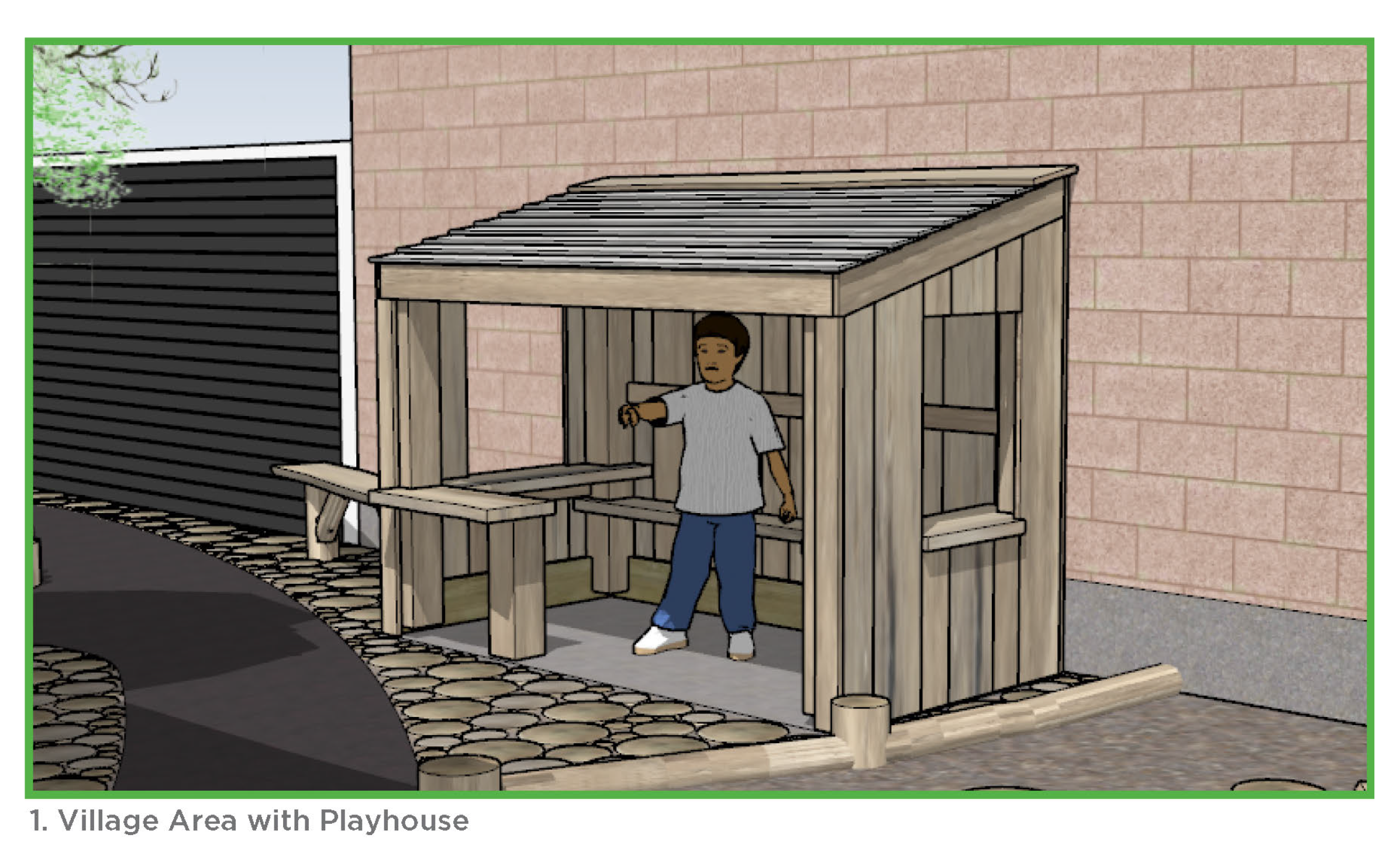 Photo of the village are with playhouse.