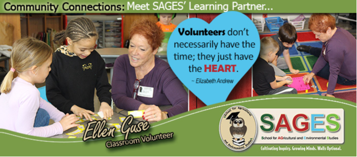VOLUNTEERS DON'T NECESSARILY HAVE THE TIME; THEY JUST HAVE THE HEART. - ELIZABETH ANDREW - PHOTOS OF ELLEN GUSE - CLASSROOM VOLUNTEER.