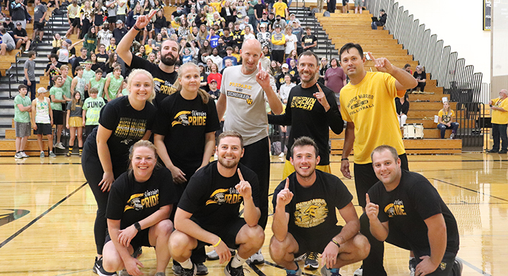 Staff Volleyball team wins against Seniors