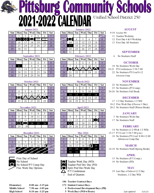 21-22 USD 250 School Calendar