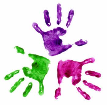 three kids handprints