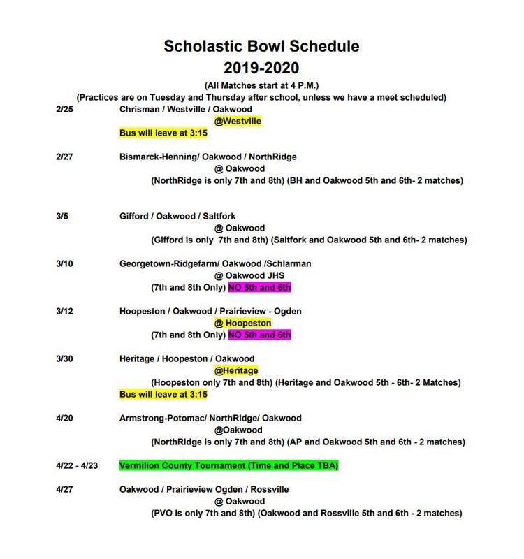 2020 SCHOLASTIC BOWL SCHEDULE