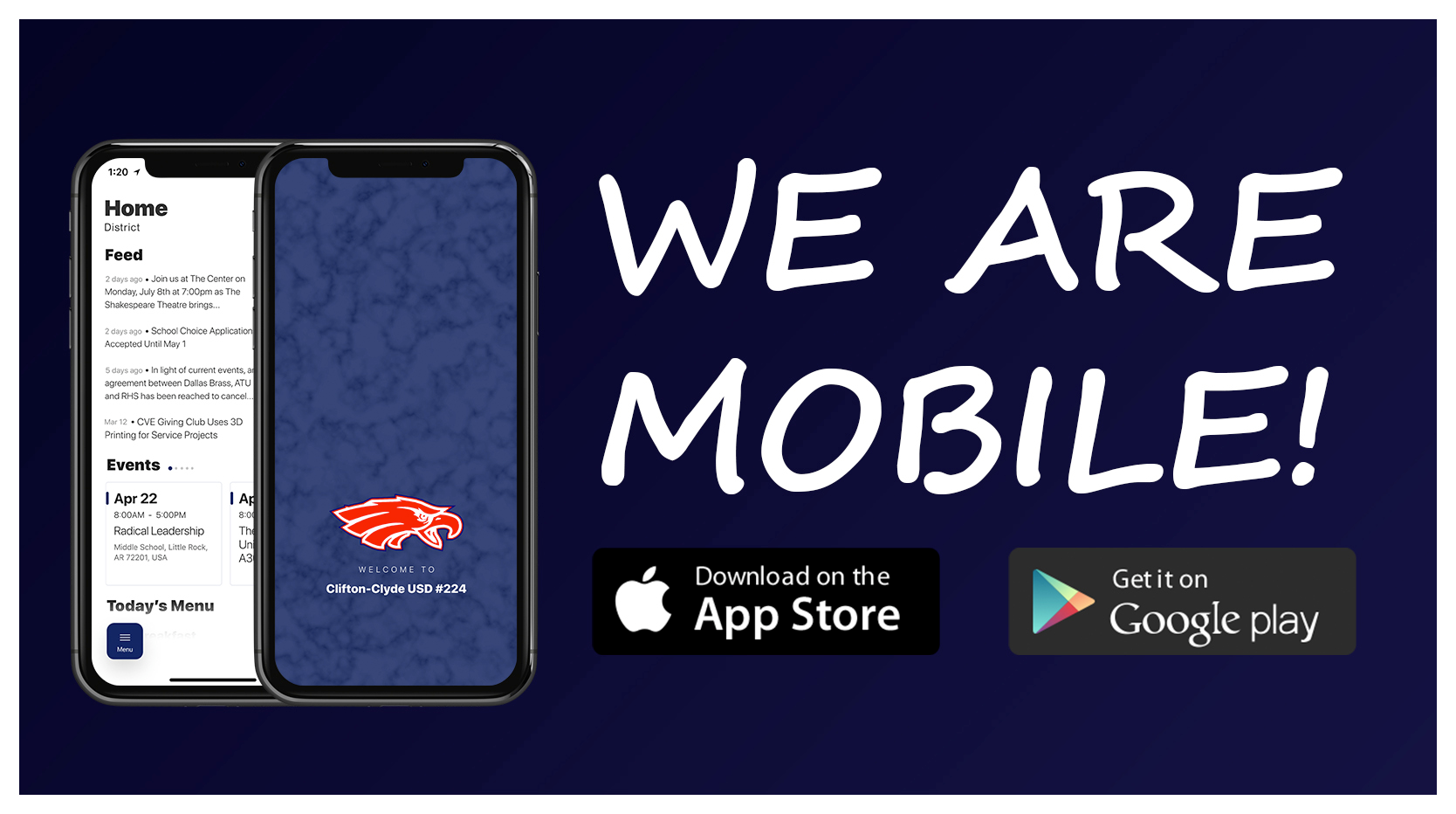 We are mobile! Download on the App Store or Get it on Google Play