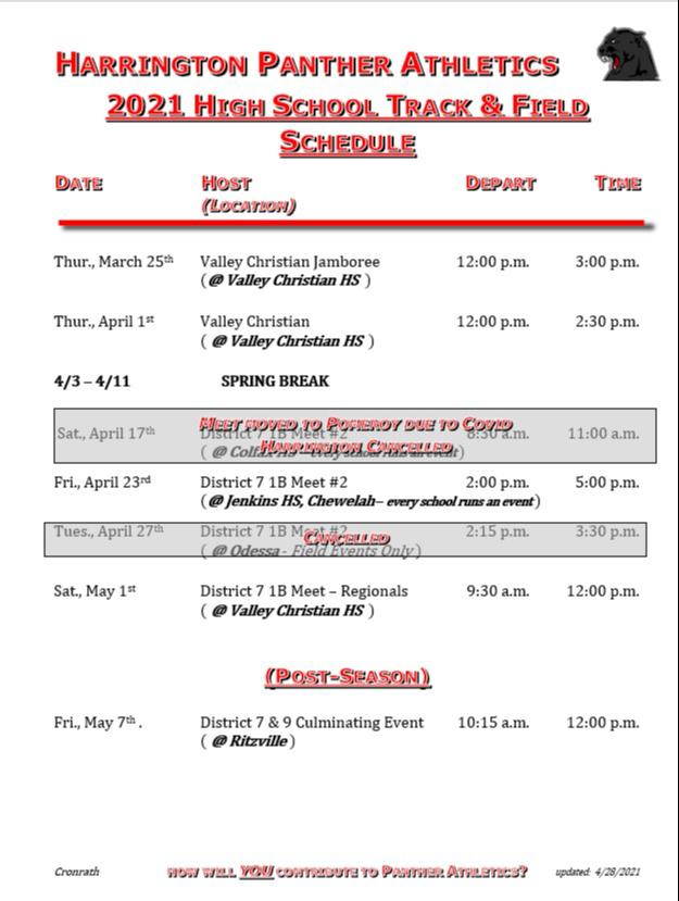 HS Track Schedule 2021