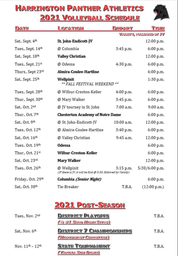 2021 Fall HS VB Schedule