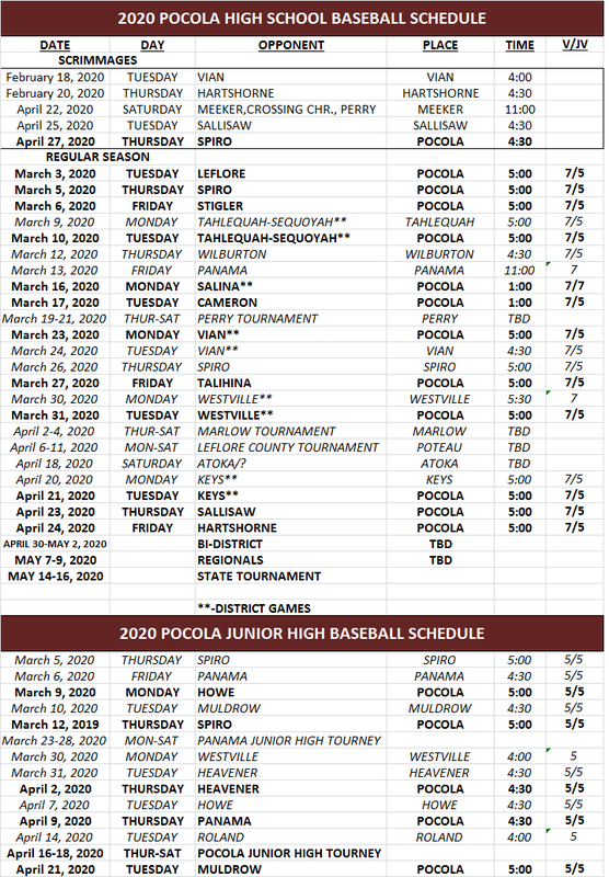 An image with the 2020 Pocola High School Baseball Schedule.